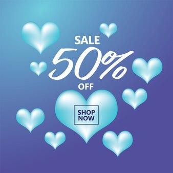 Sprzedam szablon transparentu z niebieskimi sercami wokół kształt kwadratu
