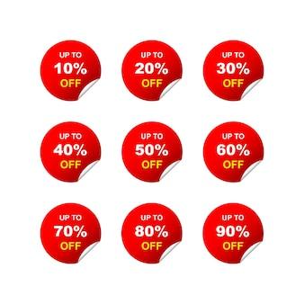 Sprzedam tagi okrągły zestaw 10, 20, 30, 40, 50, 60, 70, 80, 90 procent zniżki na białym tle. ilustracja wektorowa eps 10
