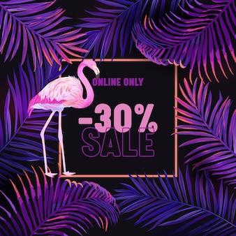 Sprzedam transparent, fioletowe tło z pink flamingo i fioletowe liście palmowe. neon modern jungle pattern, egzotyczna tropikalna ulotka ozdobna do kampanii promocyjnej sklepu, rabat w sklepie. ilustracja wektorowa