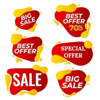 Sprzedam transparent wektor zestaw. tag rabatowy, baner oferty specjalnej. rabat i promocja. kolorowe naklejki za pół ceny. ilustracja na białym tle