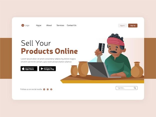 Sprzedawaj swoje produkty online projekt strony docelowej