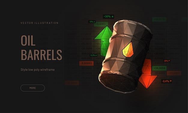 Sprzedawanie lub kupowanie baryłki ropy na rynku inwestycyjnym - ilustracja izometryczna 3d zbiornik oleju w stylu wielokątnym - strzałki w górę iw dół jako symbol handlu