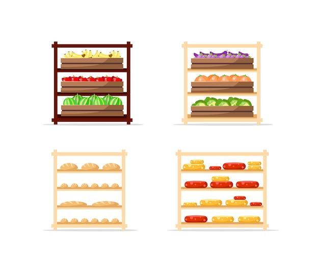 Sprzedawanie zestawu obiektów płaskiego koloru żywności. półki na ser i pieczywo. ekspozytory warzywno-owocowe. ilustracja kreskówka na białym tle artykuły spożywcze do projektowania grafiki internetowej i kolekcji animacji
