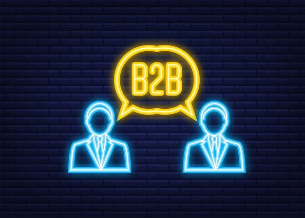 Sprzedawca b2b sprzedający produkty. neonowa ikona. sprzedaż business-to-business, metoda sprzedaży b2b. ilustracja wektorowa.