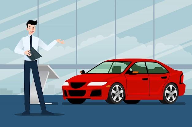Sprzedawca biznesmen jest obecny jego luksusowy samochód.