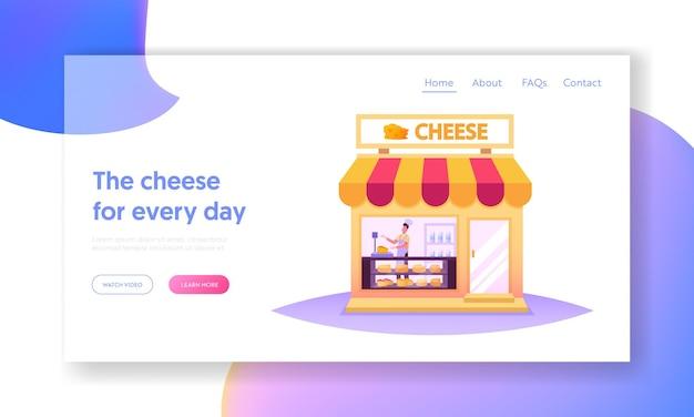 Sprzedawca charakter pracy w cheese shop landing page szablon. sprzedawca waży produkty dla klienta w sklepie z odmianami produkcji na półkach, na rynku spożywczym. ilustracja kreskówka wektor