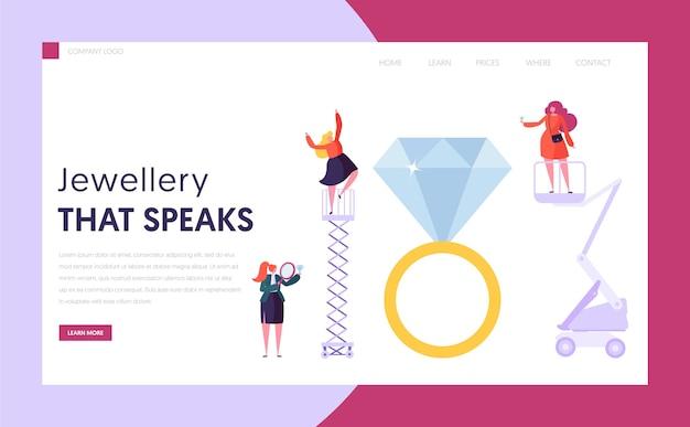 Sprzedawca jubilera posiada diamentową stronę docelową. postać kobieca kup pierścionek w sklepie z kamieniami szlachetnymi. witryna lub strona internetowa z koncepcją przemysłu jubilerskiego. luksusowy ślub symbol ilustracja kreskówka płaski wektor