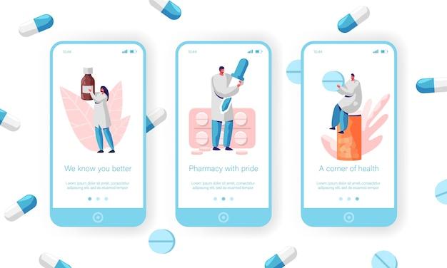 Sprzedawca klienta medycznego, zestaw ekranów na pokładzie aplikacji mobilnej koncepcji opieki zdrowotnej. farmaceuta sprzedaż antybiotyków, witamin i pigułek z receptą na witrynę internetową lub stronę internetową. ilustracja wektorowa płaski kreskówka