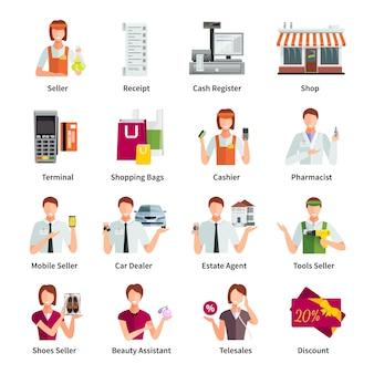 Sprzedawca płaski kolor ikony zestaw z pośrednikiem w handlu nieruchomościami farmaceuta agent nieruchomości mobilnych sprzedawca na białym tle ilustracji wektorowych