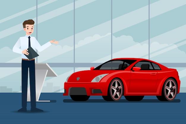 Sprzedawca przedstawia samochód w salonie wystawowym.