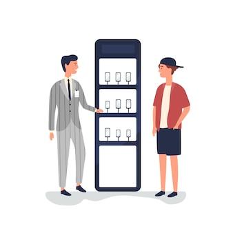 Sprzedawca reklamuje smartfony płaskie ilustracja
