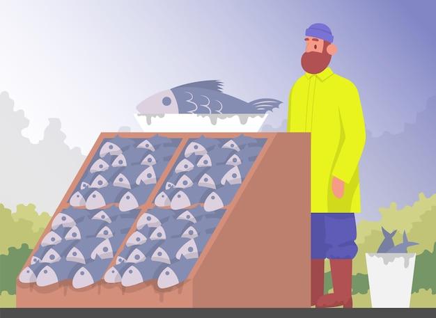 Sprzedawca rybaka w sklepie rybnym. ilustracja kreskówka wektor kolor.