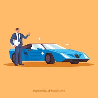 Sprzedawca samochodów płaskich z dokumentem umowy