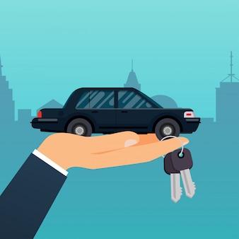 Sprzedawca samochodów ręka trzyma klucz do kupującego. sprzedaż, dzierżawa lub wynajem serwisu samochodowego. nowoczesna koncepcja ilustracji.