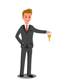 Sprzedawca samochodów, sprzedawca, ilustracji wektorowych trader