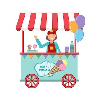 Sprzedawca sprzedaje lody, kolor na białym tle ilustracji wektorowych