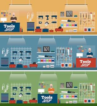 Sprzedawca w narzędziach sklepowych banerów wewnętrznych