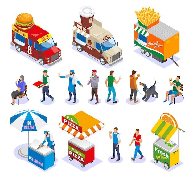 Sprzedawcy i klienci ulicy żywności wózki i pojazdy zestaw ikon izometryczny