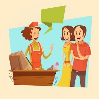 Sprzedawczyni i klienci przy wynagrodzenia biurka retro tłem
