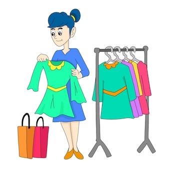 Sprzedawczyni reklamująca swoje towary. ilustracja kreskówka naklejka emotikon