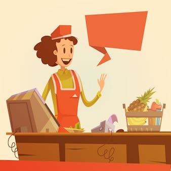 Sprzedawczyni retro ilustracja