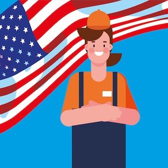 Sprzedawczyni z flagą stanów zjednoczonych ameryki
