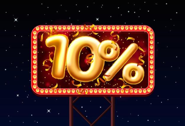 Sprzedaż 10 off numer balonu na tle nocnego nieba. ilustracja wektorowa