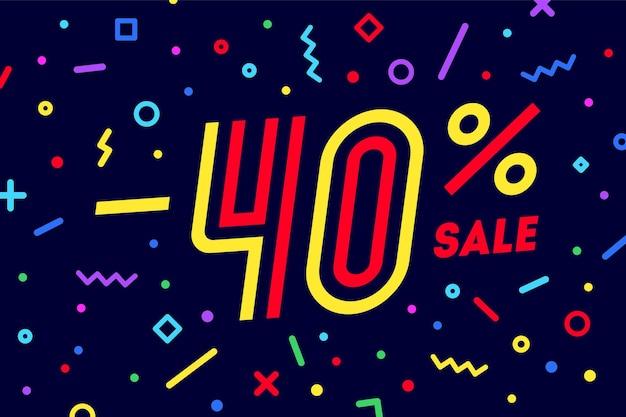 Sprzedaż -40 proc. baner rabatowy, sprzedaż. projekt plakatu, ulotki i banera w geometrycznym stylu memphis z tekstem -40 procent, baner internetowy na sprzedaż, rabat. ilustracja wektorowa