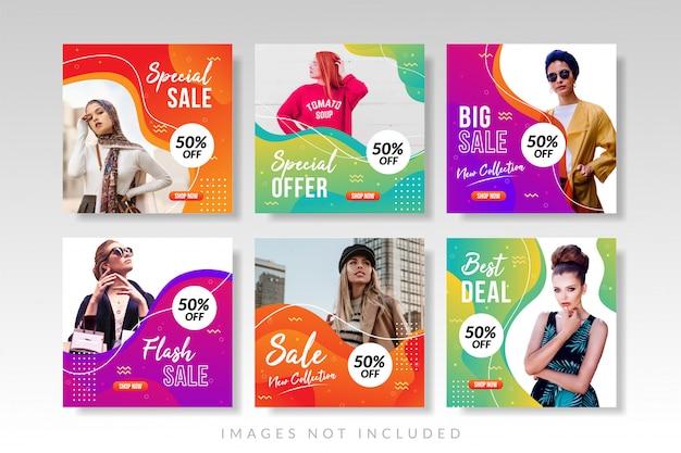 Sprzedaż banerów i kolekcja postów w mediach społecznościowych