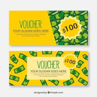 Sprzedaż banerów z ręcznie rysowane banknotów