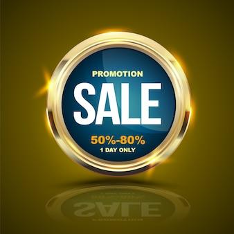 Sprzedaż banner złote kółko do reklamy promocyjnej.