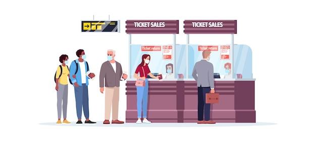 Sprzedaż biletów licznik pół płaski kolor rgb ilustracja wektorowa. ludzie w kolejce na lotnisku w masce medycznej na bezpiecznej odległości. pasażerowie samolotu na białym tle postać z kreskówki na białym tle