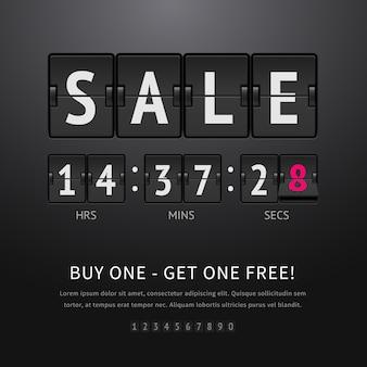 Sprzedaż. czarny zegar klapki z tekstem sprzedaży i zegarem, analogowa tablica wyników na ciemnym tle. ilustracja zegara odliczającego klapki do promocji i reklamy