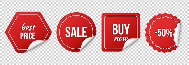 Sprzedaż. czerwone naklejki sprzedaży, promocje i rabaty.