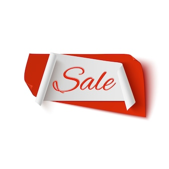 Sprzedaż, czerwony i biały abstrakcyjny baner na pomarańczowym tle.