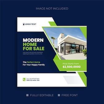 Sprzedaż domów dla firm z branży nieruchomości na post w mediach społecznościowych lub kwadratową ulotkę