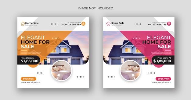 Sprzedaż domu biznes media społecznościowe post kwadratowy szablon transparent