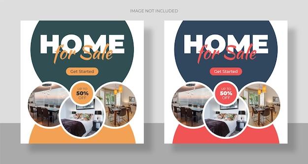 Sprzedaż domu nieruchomości post w mediach społecznościowych i baner internetowy