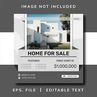 Sprzedaż domu promocja w mediach społecznościowych i projekt banera na instagramie