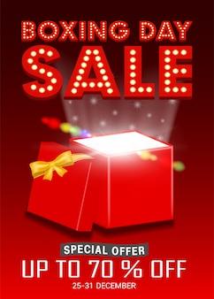 Sprzedaż drugiego dnia świąt bożego narodzenia z otwartym pudełkiem promującym plakat
