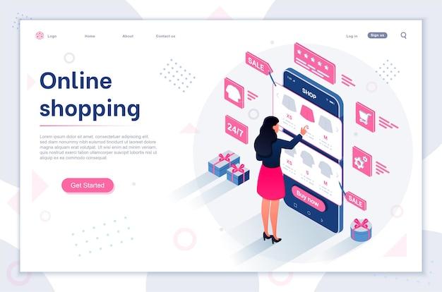 Sprzedaż e-commerce kupujący nowoczesna płaska izometryczna ilustracja zakupów online