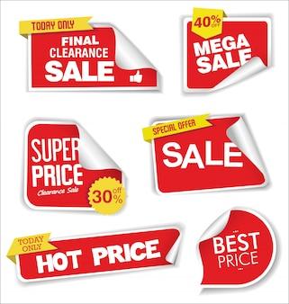 Sprzedaż etykiet rabatowych lub projekt etykiet