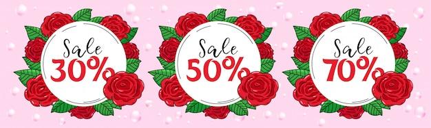 Sprzedaż etykiet z czerwonymi różami
