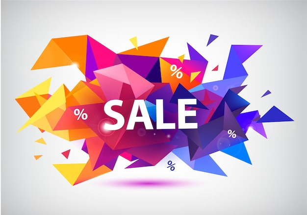 Sprzedaż fasetowany baner, plakat. kolorowa ilustracja
