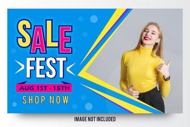 Sprzedaż fest moda sprzedaż transparent szablon projektu