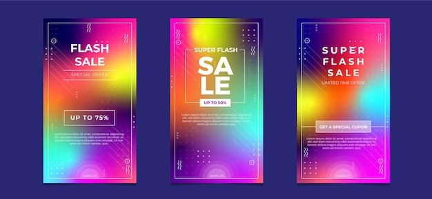 Sprzedaż flash banner opowiadań na instagramie w mediach społecznościowych z kolorem gradientu