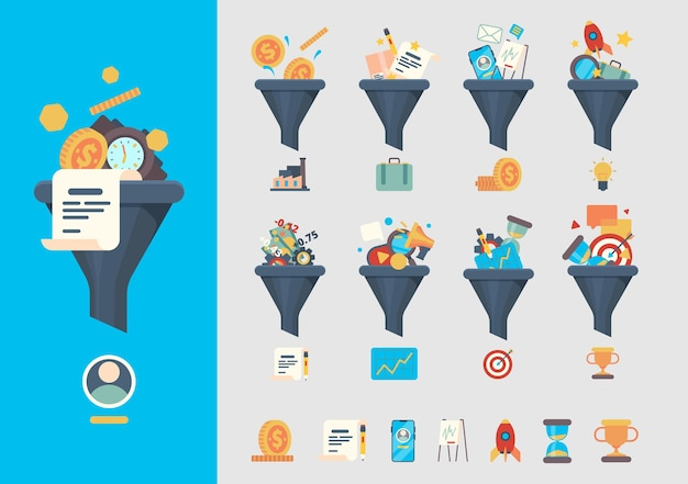 Sprzedaż generacji lejków. biznesowe modele generatywne konsument zidentyfikował produkty handlowe symbole wektorowe lejka. generowanie marketingu konwersji, ilustracja klientów i leadów