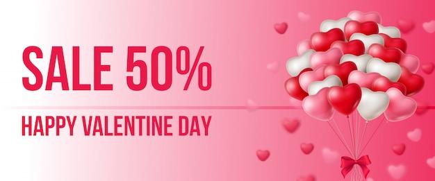 Sprzedaż, happy valentine day napis z bandą balonów