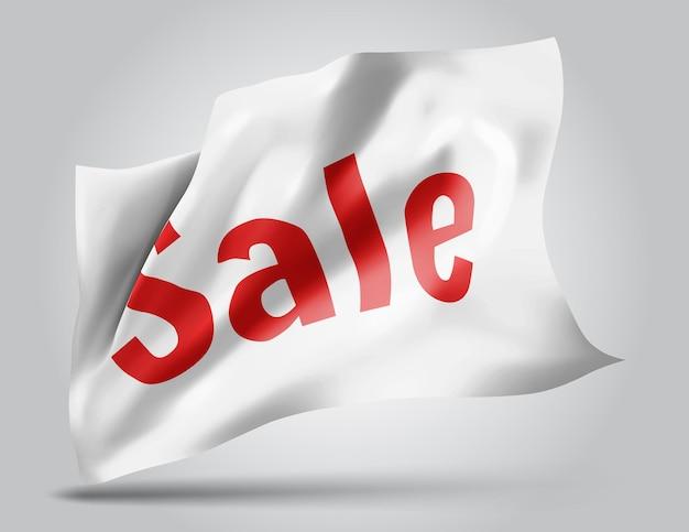 Sprzedaż i rabaty na wektor flagi 3d na białym tle