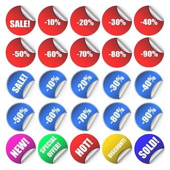 Sprzedaż i zniżki różne etykiety